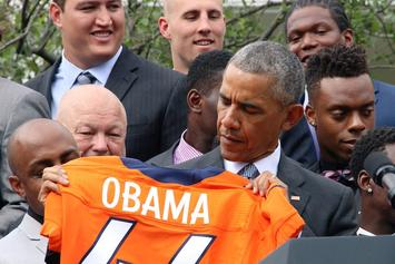 "President Obama Welcomes The Broncos To The White House By Yelling ""OMAHA!"""