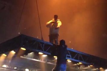 Fan Attempts To Climb On Kanye West's Floating Stage