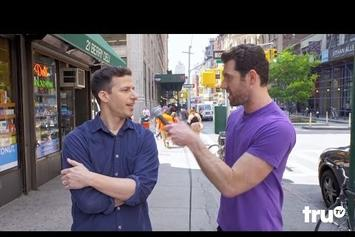 """Watch Andy Samberg & Jon Hamm Trash Hollywood Reboots With """"Billy On The Street"""""""