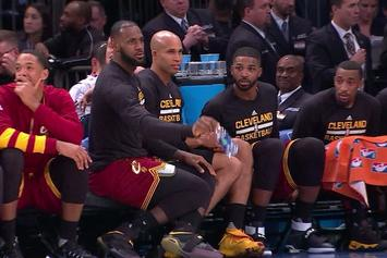 LeBron, Kyrie Attempt Bottle Toss Challenge On The Bench While Cavs Destroy Knicks