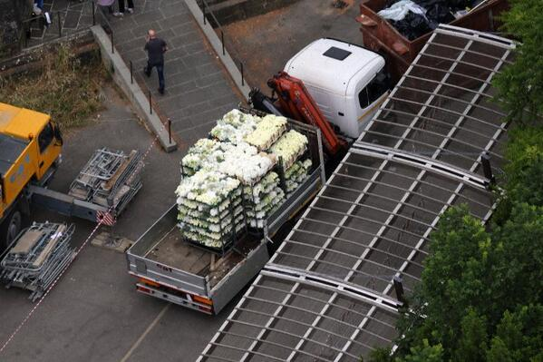 White flowers arriving at 1 of 2 wedding locations, at Forte di Belvedere in Florence, Italy