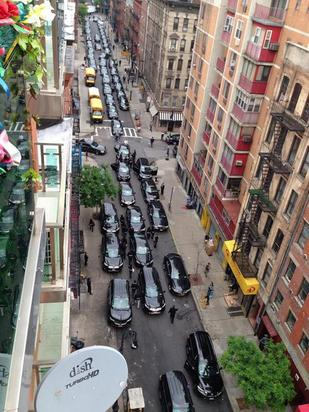 The large convoy of cars for the Kardashians