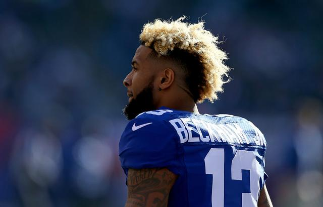 Odell Beckham #13 of the New York Giants looks on prior to their game against the Philadelphia Eagles at MetLife Stadium on January 3, 2016 in East Rutherford, New Jersey.