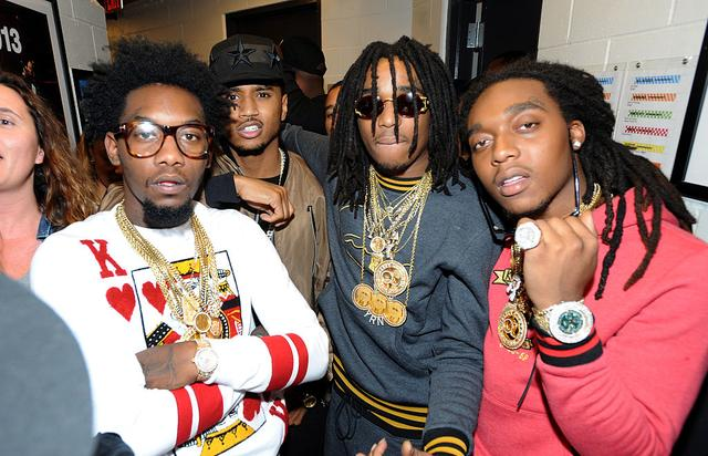 (L-R) Rapper Takeoff of Migos, singer-songwriter Trey Songz, and Quavo and Offset of Migos pose backstage at Power 105.1's Powerhouse 2014 at Barclays Center of Brooklyn on October 30, 2014 in New York City.
