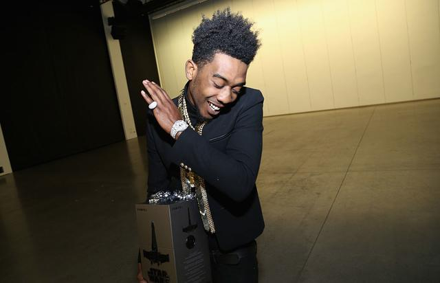 Desiigner poses with Propel Star Wars Battle Drones at Def Jam's Holiday Party on December 15, 2016 in New York City
