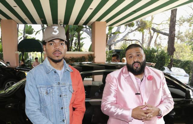 Chance the Rapper and DJ Khaled arrive at DJ Khaled's Special Announcement Press Conference at Beverly Hills Hotel on February 9, 2017 in Beverly Hills, California.