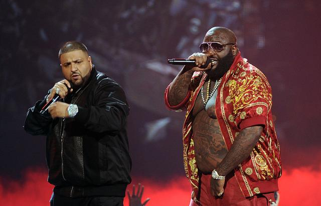 (L-R) Rappers DJ Khaled and Rick Ross perform onstage during the BET Awards '11 held at the Shrine Auditorium on June 26, 2011 in Los Angeles, California.