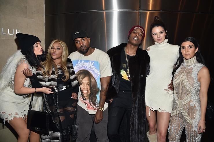 kylie jenner, lil kim, kanye west, kourtney kardashian, kendall jenner at yeezy season 3