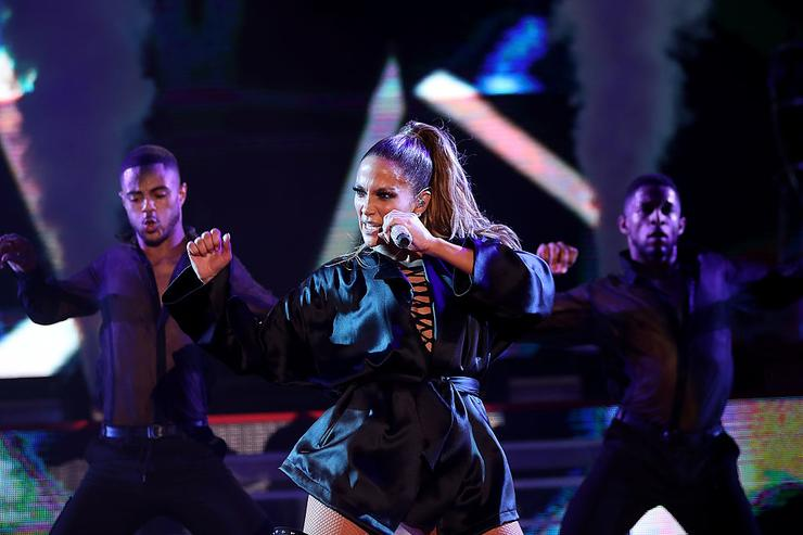 Singer Jennifer Lopez performs during a Get Out The Vote concert for Democratic presidential nominee former Secretary of State Hillary Clinton on October 29, 2016 in Miami, Florida.