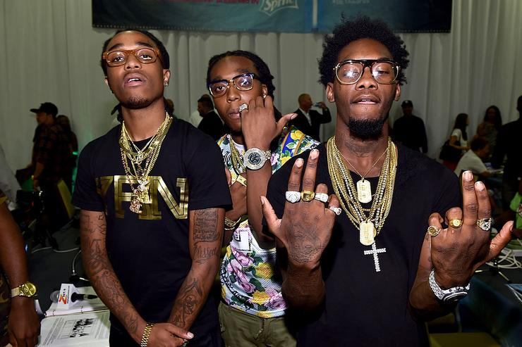 (L-R) Rappers Quavo, Takeoff and Offset of Migos attend day 1 of the Radio Broadcast Center during the BET Awards '14 on June 27, 2014 in Los Angeles, California.