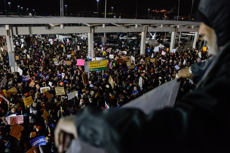 Protesters at JFK airport.