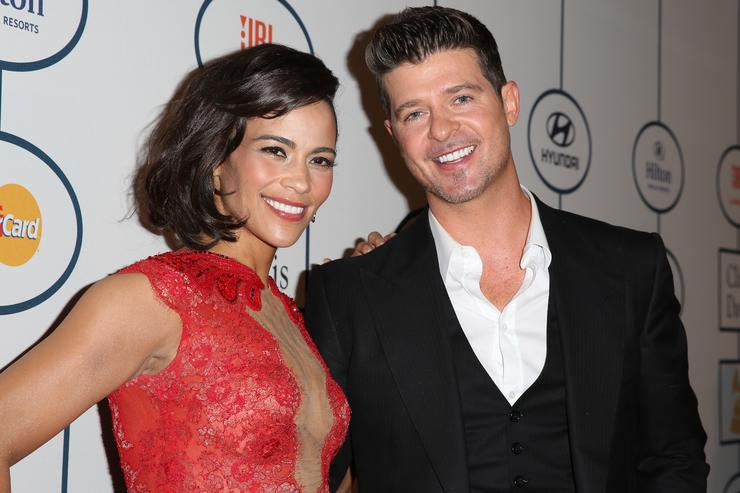 Paula Patton and Robin Thicke at 2014 Grammy Awards show Hyundai/ Clive pre-party.