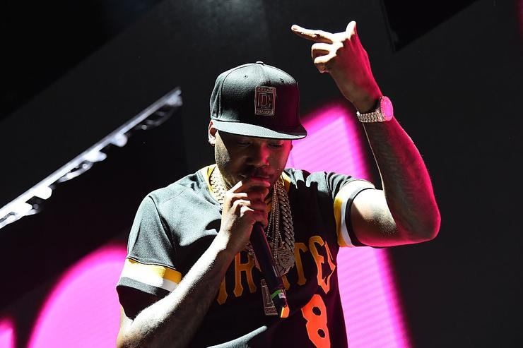 Meek Mill performs at the First Niagara Pavilion on August 8, 2015 in Pittsburgh, Pennsylvania.