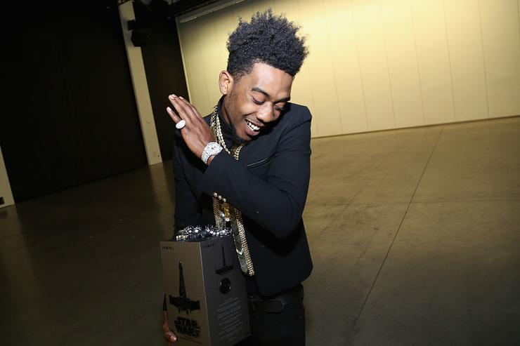 Desiigner poses with Propel Star Wars Battle Drones at Def Jam's Holiday Party on December 15, 2016 in New York City.