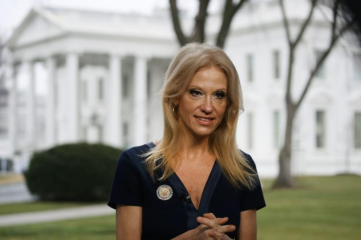 Kellyanne Conway speaks to morning shows from the White house front lawn.
