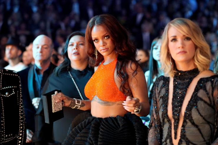 Singers Rihanna and Carrie Underwood during The 59th GRAMMY Awards at STAPLES Center on February 12, 2017 in Los Angeles, California.