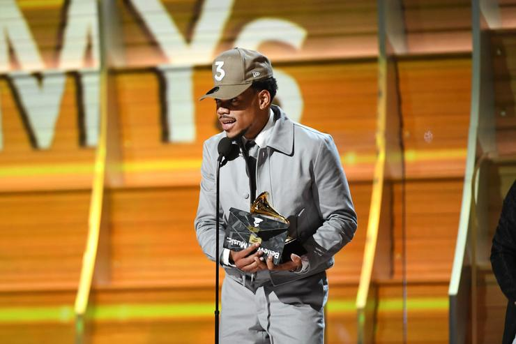 Recording artist Chance the Rapper accepts the award for Best New Artist, onstage during The 59th GRAMMY Awards at STAPLES Center on February 12, 2017 in Los Angeles, California.