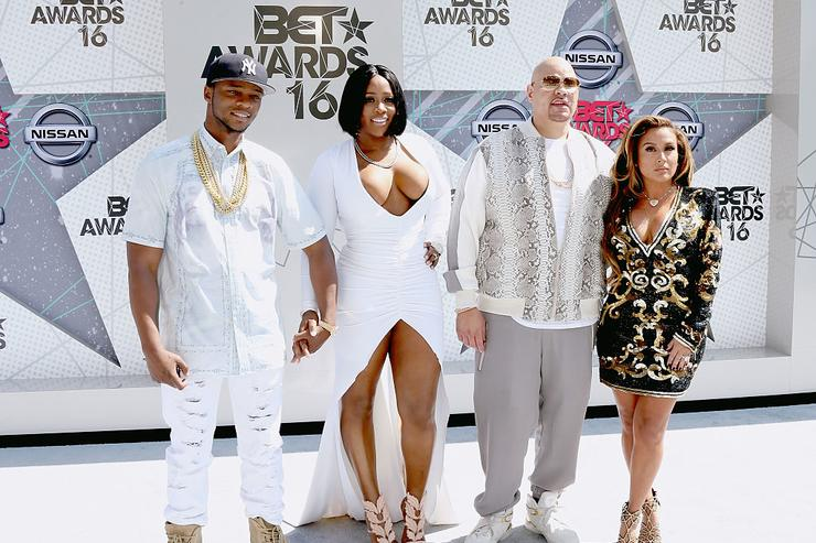 (L-R) Rappers Papoose, Remy Ma, and Fat Joe with Lorena Cartagena attend the 2016 BET Awards at the Microsoft Theater on June 26, 2016 in Los Angeles, California.