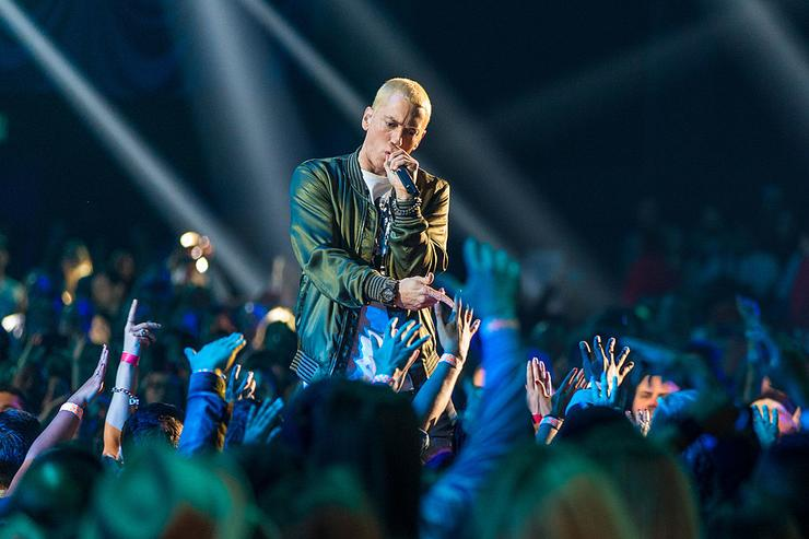 Eminem performs at the Staples Center on February 8, 2014 in Los Angeles, California.
