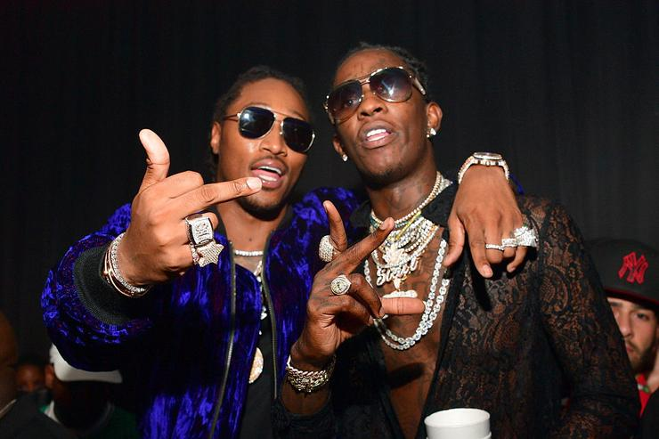 Future and Young Thug attend Young Thugs 25th Birthday an PUMA Campaign on August 15, 2016 in Atlanta, Georgia.