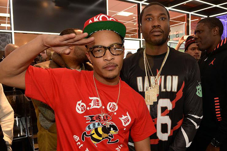 T.I. and Meek Mill make a special appearance at The PUMA Lab Powered by Foot Locker at Foot Locker at the Gallery at South Dekalb Mall on February 6, 2014 in Atlanta, Georgia.