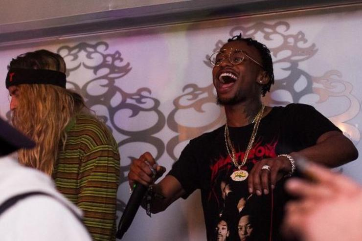 Rob $tone performs at an event.