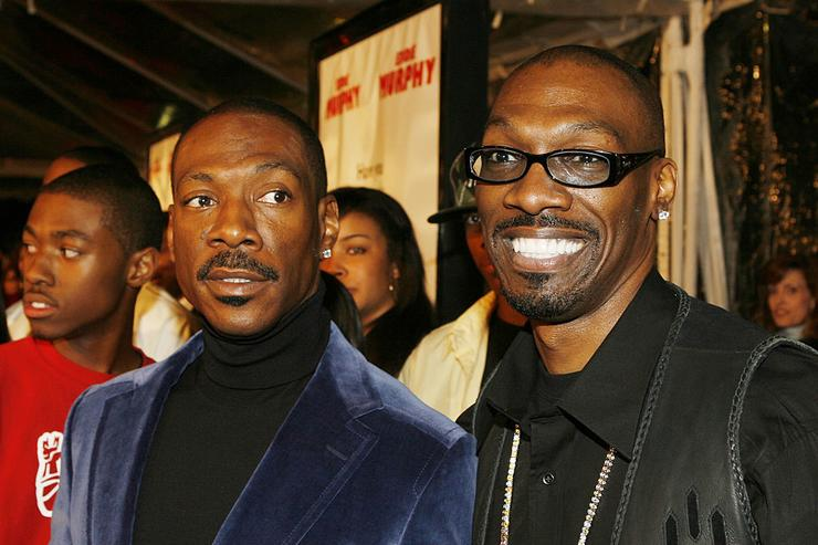 Eddie Murphy and brother, screenwriter Charlie Murphy pose at the premiere of Dreamworks' 'Norbit' at the Mann Village Theatre on February 9, 2007 in Los Angeles, California.