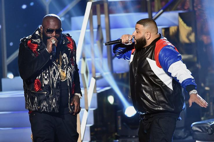 Rapper Rick Ross (L) and DJ Khaled perform onstage during the 2016 American Music Awards at Microsoft Theater on November 20, 2016 in Los Angeles, California.