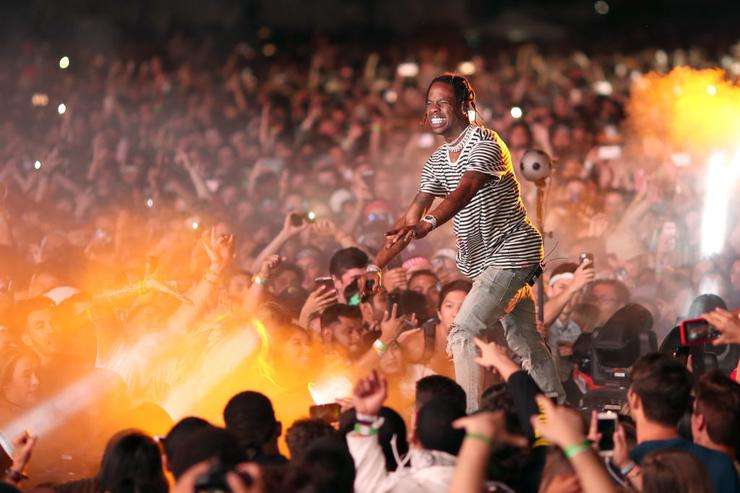 Travis Scott performs on the Coachella Stage during day 1 of the Coachella Valley Music And Arts Festival (Weekend 1) at the Empire Polo Club on April 14, 2017 in Indio, California.