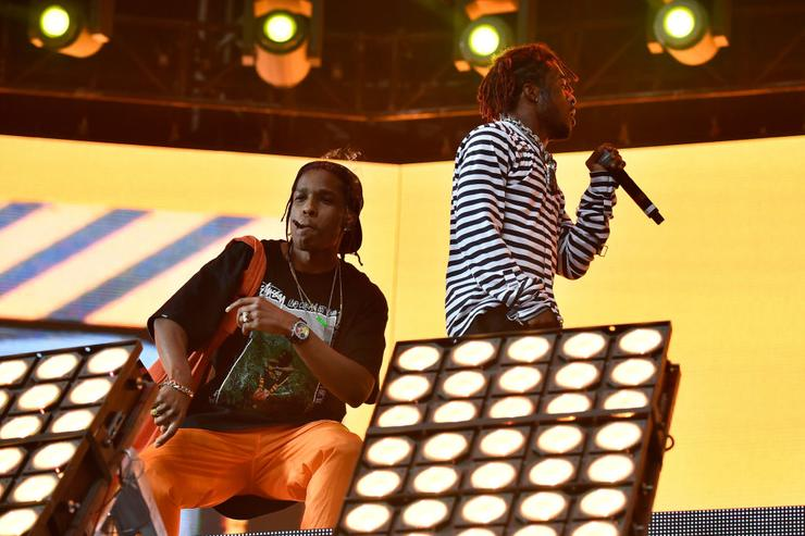 ASAP Rocky and Lil Uzi Vert perform in the Sahara Tent during day 3 (Weekend 2) of the 2017 Coachella Valley Music & Arts Festival (Weekend 2) at the Empire Polo Club on April 23, 2017 in Indio, California.