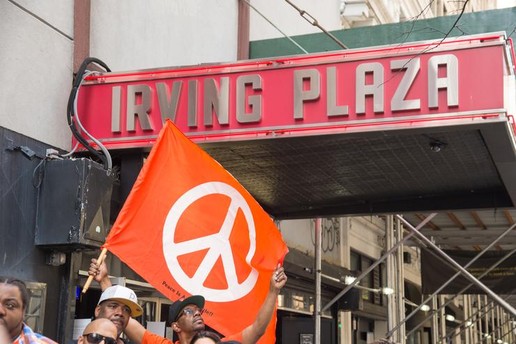 a rally against violence outside irving plaza after a shooting