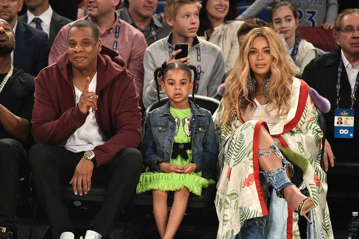 ay Z, Blue Ivy Carter and Beyoncé Knowles attend the 66th NBA All-Star Game