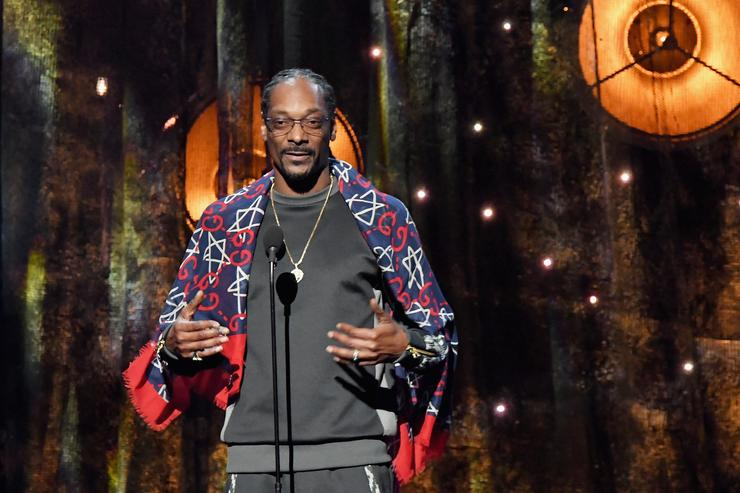 Snoop Dogg speaks about 2017 Inductee Tupac Shakur onstage at the 32nd Annual Rock & Roll Hall Of Fame