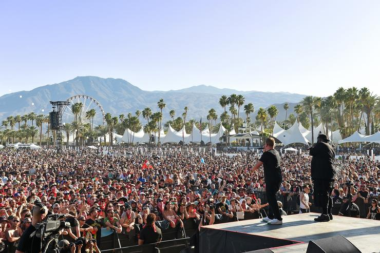 El-P (L) and Killer Mike of Run the Jewels perform onstage during day 2 of the 2016 Coachella Valley Music & Arts Festival