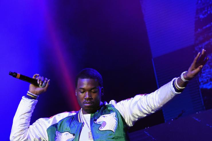 Meek Mill performs during V-103 Live Pop Up Concert at Philips Arena