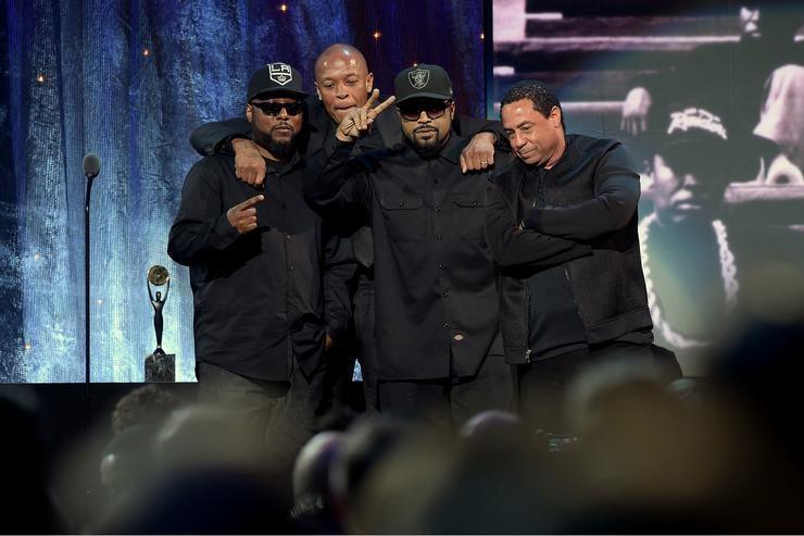 MC Ren, Dr. Dre, Ice Cube and DJ Yella of N.W.A. speak onstage at the 31st Annual Rock And Roll Hall Of Fame Induction Ceremony
